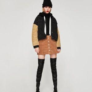 Zara Corduroy  Cord Brown Skirt
